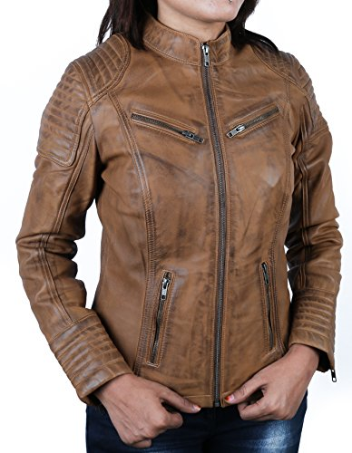 Urban Leather Corto Biker - Chaqueta de piel, Mujer, marrón, 2XL