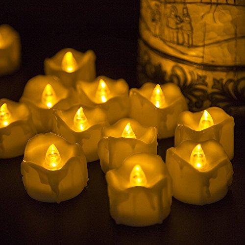 Velitas parpadeantes LED sin llama con batería (sin aroma, 60 horas de duración). Ideal para cumpleaños, bodas, diestas, Halloween y Navidad - Paquete de 12 velitas cuadradas en amarillo