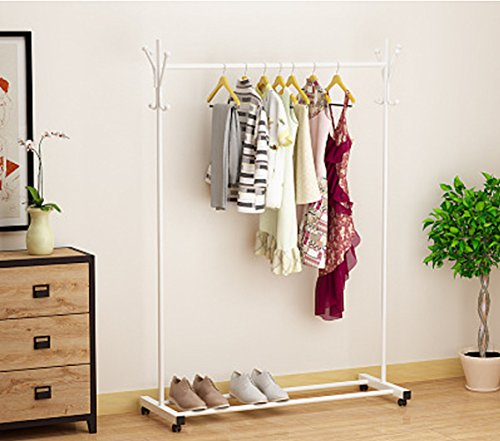Perchero Ease Home, moderno, minimalista, de metal, para ropa, de una sola barra, con perchas adicionales en los laterales y almacenamiento inferior estante para cajas, zapatos y botas