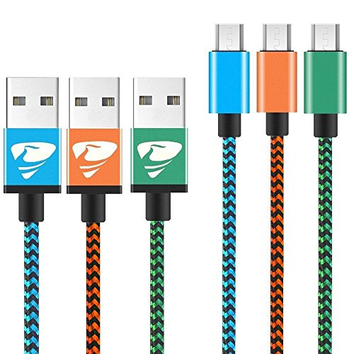 Micro USB Cable 6.6ft (3 Pack-blue, green, orange)Rephoenix Nylon Braided Android Charger Cables - for Smartphones Samsung Galaxy, Nexus, LG, Sony, HTC, Motorola, Kindle, PS4 Controller, and More Test