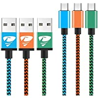 Micro USB Cables 2m/6.6ft Aione Android Cable (3 Pack) Nylon Braided USB Cable- for Samsung, Nexus, LG, Sony, HTC, Motorola, Kindle, PS4 Controller and More-Blue, Green, Orange