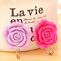 RICISUNG 2 x Lovely Coat Hat Robe Towel Hook Hanger Wall Mounted Rose Flower (purple+red)