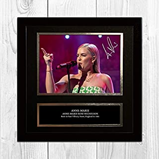 Anne-Marie 1 NDB Signed Reproduction Autographed Wall Art - 10 inch x 10 inch Print (Black Frame)