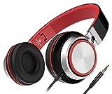 Sound Intone MS200 Neue Stereo-faltbarer Kopfhörer, kleine Headset mit gringes Gewicht, 3,5mm kompatibel mit Smartphones/Laptops/samsung/iPod/Android/HTC/MP3/4 (Schwarz/Rot)