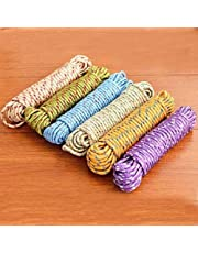 MENAGE Clothes Line Cloth Drying Nylon Braided Cotton Rope (20 m, Multicolour)