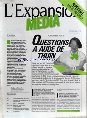 EXPANSION MEDIA [No 25] du 01/02/1986 - SPECIAL MARKETING DIRECT - ADT CONSULTANTS - QUESTIONS A AUDE DE THUIN - EDITORIAL DE HUBERT ZIESENISS