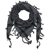 Superfreak® Palituch zweifarbig klassisch°PLO Schal°100x100 cm°Pali Palästinenser Arafat Tuch°100% Baumwolle, Farbe: grau/schwarz