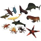 12pcs Juguetes de Animales y Figuras Marinos de PVC Plástico Niños
