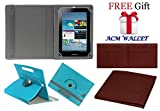 ACM ROTATING 360° LEATHER FLIP CASE FOR SAMSUNG GALAXY TAB 2 P3100 TABLET STAND COVER HOLDER GREENISH BLUE
