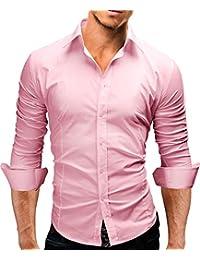 MERISH Camisas para Hombre manga larga en muchos colores diferentes y tamaños perfecto para la oficina, ocio y otras ocasiones, Modell 01
