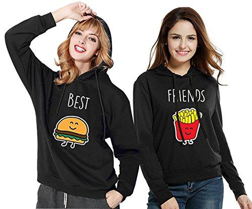 SISTER Hoodie SET - Best Friends Beste Donut und Getränk Freundin Kapuzenpullover Sweatshirt Pullover Schwarz Aufdruck Baumwolle 2 Stück JWBBU® (Schwarz, Best-S+Friend-S) (Sweatshirt Schwarz 2)