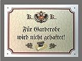 Metallschild Garderobe keine Haftung - Schild Österreich (18 x 14 cm)