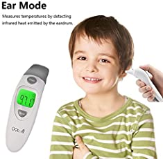 QQCute Digital Infrared Forehead Thermometer More Accurate Medical Fever Body Basal Thermometers Suitable For Baby Kid Adult (Gray)