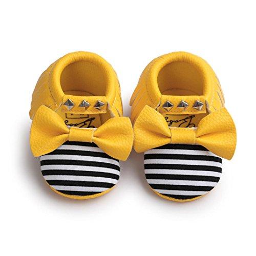 BZLine® Unisexe Bébé Bowknot Chaussures en Coton | Semelle Plate en Tissu | Frange Rivet Chaussures Souples Jaune