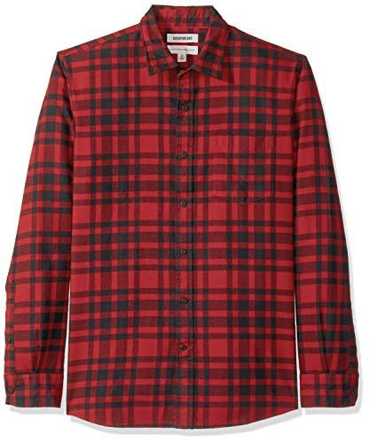 Marchio Amazon - Goodthreads, camicia da uomo a maniche lunghe, in flanella spazzolata, Standard Fit, Rosso (Red/Black Plaid Red),...