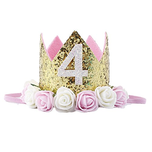 Missley Crown Rose Blume Golden Crown Geburtstag Stirnband Prinzessin Baby Mädchen Crown Stirnband Haar Zubehör (4) (Blumen-stirnband Crown)