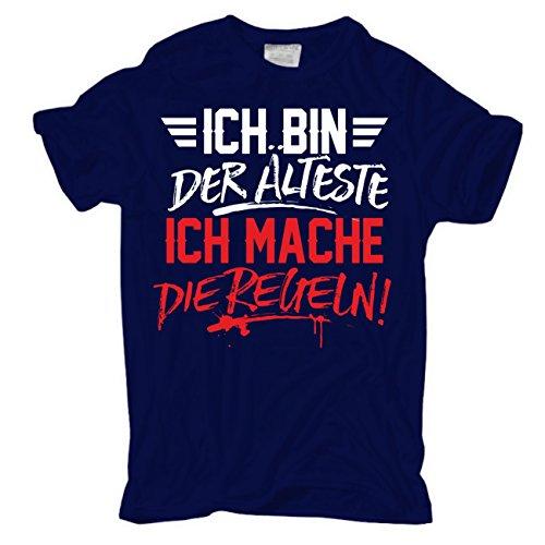 Männer und Herren T-Shirt Ich bin der ÄLTESTE ich mache die REGELN körperbetont dunkelblau