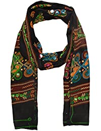 SK Women's Cotton Printed Dupatta With Machine Embroidery (Black)