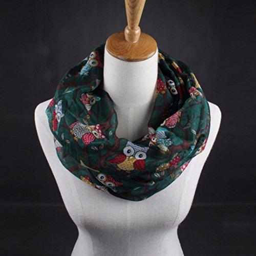 Transer ® Femelle Écharpes,Mode Femmes Motif Owl Imprimer Écharpe Voile chaud Wrap Châle 50cm * 170 cm Don Vert