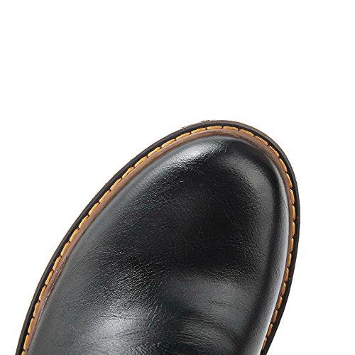 AllhqFashion Damen Rein Reißverschluss Hoher Absatz Stiefel mit Metallisch Schwarz