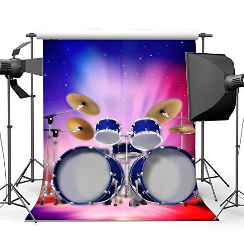 MMPTn Vinyl 5X7FT Drum Set Hintergrund Band Konzert Kulissen Innen Bühne Bokeh Glitter Lichter Abschlussfeier Fotografie Hintergrund für Jungen Mädchen Zeigen Party Theater Fotostudio Requisiten (Jungen-drum-set)