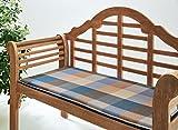 Bankauflage Marina - Sitzkissen für Gartenbank - Blau Beige Kariert - ca. 97 x 49 cm