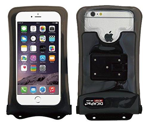 Apple iPhone 7 Plus / Apple iPhone 7s Plus - wasserdichte Handyhülle / Handytasche / Schutzhülle (Große Größe) inkl. Cliphalter & DiCAPac Action Haltersystem (GoPro komp.) - schwarz