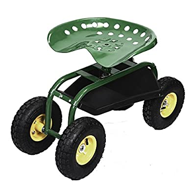 Buy Costway Garden Cart W/Rolling Seat Work Tool Tray Heavy ...