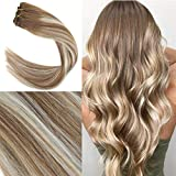 YoungSee 7 Tlg Haarverlängerung Clips Echthaar Balayage Braun mit Blond Full Head Remy Double Weft Clip in Extensions Human Hair 55 cm 120g/set