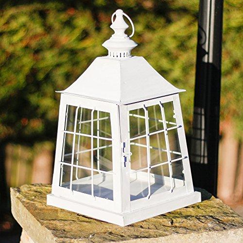 Bella grande colomba candela lanterna in metallo color bianco, accessorio perfetto per qualsiasi stile casa. ideale per uso interno orf alfresco pranzo. base 23cm x 23cm. altezza 43cm