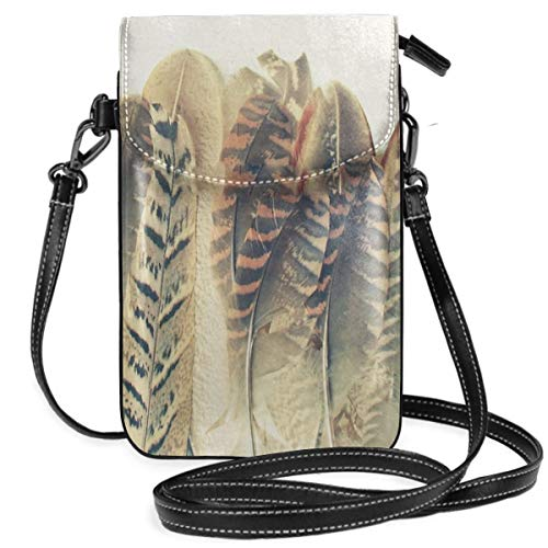 Feather Dip Crossbody Purse Cell Phone Purse Mini Shoulder Bag with Shoulder Strap for Womens,Girls Floral Dip