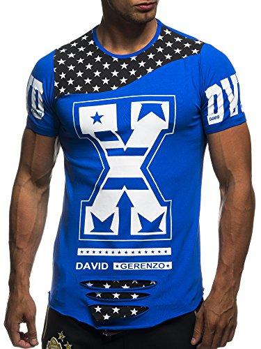 David&Gerenzo Herren T-Shirt oversize Aufdruck X Zerrissen Shirt 1-10324 Blau
