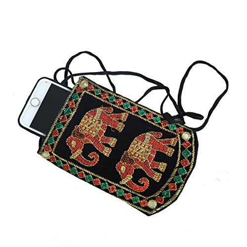 Kuber Industries™ Designer Embroided Mobile-Phone Pouch Cover With Purse Pocket And Sari Hook For Women (Black) - BG78