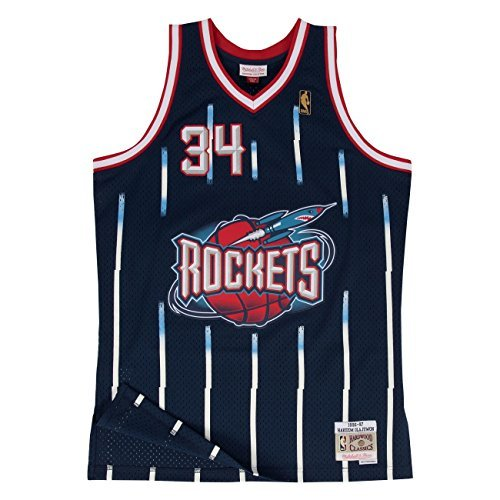Mitchell & Ness Hakeem Olajuwon #34 Houston Rockets 1996-97 Swingman NBA Trikot Navy, S (Swingman Rockets Houston)