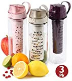 Herevin Wiederverwendbare Trinkflasche 3er Set mit Fruchteinsatz 750 ml BPA freie Plastikflasche Wasserflasche optimal für Kinder und Erwachsene für Sport, Ausflüge und Alltag (Pastellfarben-Set)