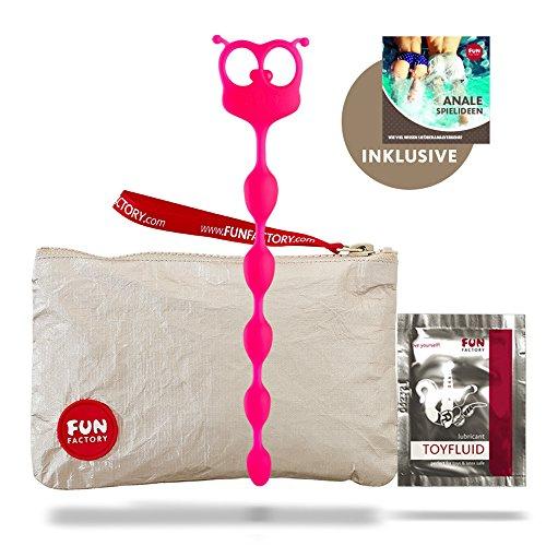 Fun Factory FLEXI FELIX rosa Silikon Analkette für Anfänger (Set inkl. tollen Zubehör) 31,0 cm lang - Perlen Ø: 1,8 - 2,3 cm Analspielzeug, Analkugeln für Männer und Frauen