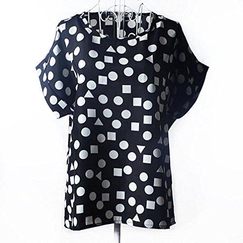 Ineternet Femmes Blouses manches courtes occasionnel impression tropicale en mousseline de soie chemise à fleurs Noir-Géométrie