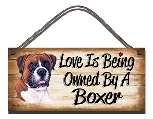 Gigglewick Gifts Geburtstag Anlass Boxer 'Holz-Wandschild, mit englischsprachiger Aufschrift Love is Being Owned by A Boxer