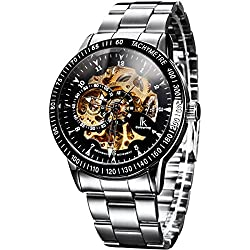 Alienwork IK Automatic Watch Self-winding Skeleton Mechanical Stainless Steel black silver 98226-14