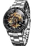 Alienwork IK Automatik Armbanduhr Herren Damen Uhr Edelstahl Armband Metallarmband Metallband silber Automatikuhr Herrenuhr Damenuhr schwarz
