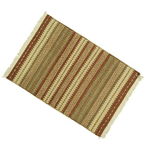 Baumwolle Streifen Werfen (Wohnkultur Hand gesponnene Werfen Indian Rug Bodenmatte Streifen Baumwolle Jute Flickenteppich 38