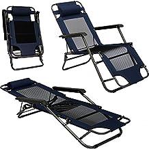 Sedia a Sdraio Pieghevole per campeggio e tempo libero | Sedia da Giardino Reclinabile con Poggiatesta |Brandina Blu Scuro | Struttura in acciaio | Peso max supportato 100 kg | 153cm