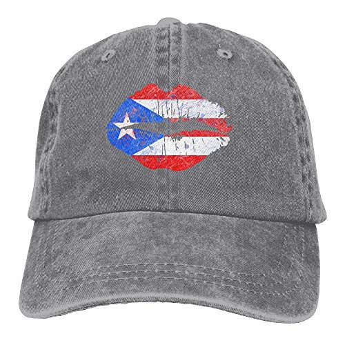 Puerto Rico Puerto Rican Flag with Lips Classic Unisex Baseball Cap Adjustable Washed Dyed Cotton Ball Hat Black -