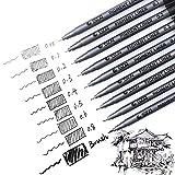 Laconile Lot de 9feutres fineliners Encre pigmentée Noir Pour artiste professionnel, esquisse, dessin, bande dessinée, manga, scrapbooking