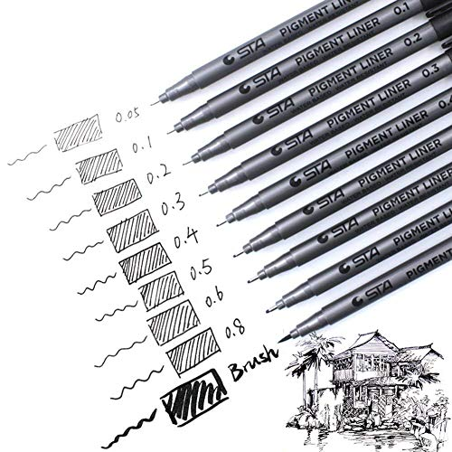 Pack 9 bolígrafos punta fina Pigment Liner Lacoline