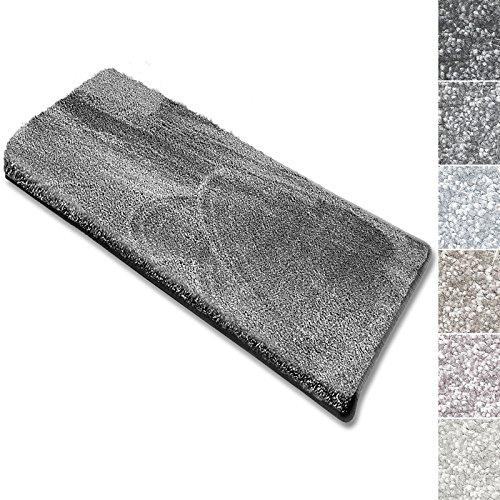 casa pura Stufenmatten Sundae   viele Varianten   Treppenteppich mit kuschlig weichem Flor   kombinierbar mit passenden Läufern   Silber - Rechteckig - 15 Stück Set - Treppenstufen Teppich, Teppich Läufer