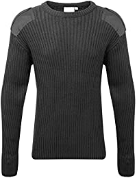 Adults Crew Neck Military Army Security Pullover Jumper Commando Sweater Police MOD NATO SAS Knitted With Patches Black Navy Blue Olive Green