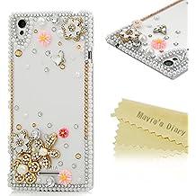 Sony Xperia T3 Funda de 3D Crystal PC Case Dura y Transparente - Mavis's Diary® Bling Diamantes Carcasa para Sony Xperia T3 Diseño de flores