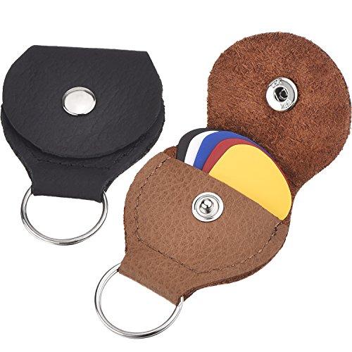 2 Stück Leder Plektrum Halter Schlüsselanhänger und 5 Stück 0,46 mm Bunte Zelluloid Material Gitarre Plektren