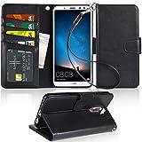 Premium Huawei Mate 10 lite Hülle, Arae schwarz aus Leder zum Klappen mit Karten- und Geldfach, mit Kick-Stand zum Aufstellen, Magnetverschluss